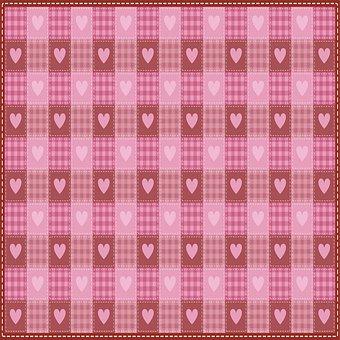 Valentine Digital Paper, Valentine Fabric Quilt