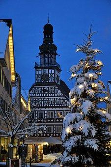 Kirchheim, Teck, Town Hall, Winter, Night, Christmas