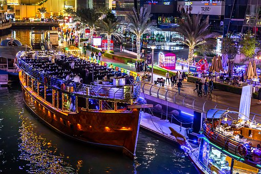 Dubai Marina, Boat, River, Water, Night, Lights