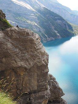 Climber, Rock, Steep, Exposed, Lake Oeschinen, Lake
