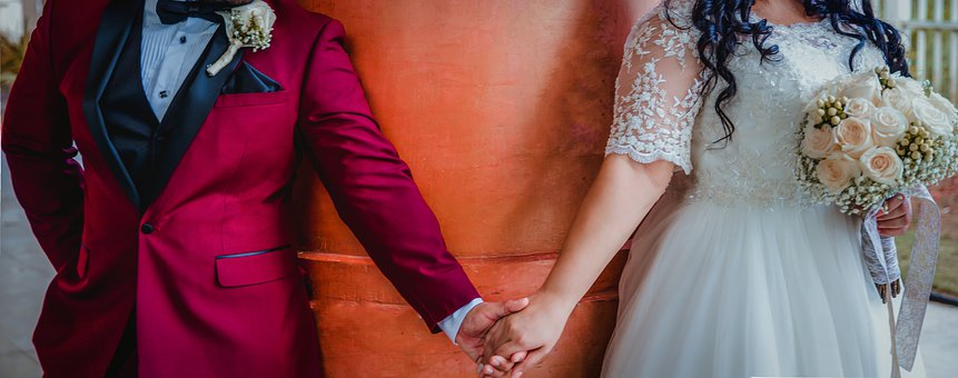 Wedding, Bride, Flowers, Woman, Marriage, Couple, Love
