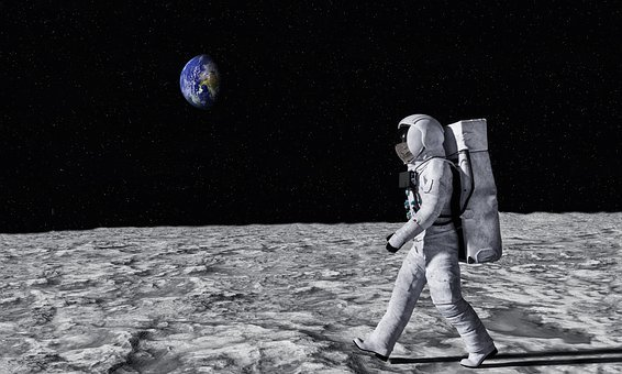 Astronaut, Moon, Surface, Walk, Earth, View, Space