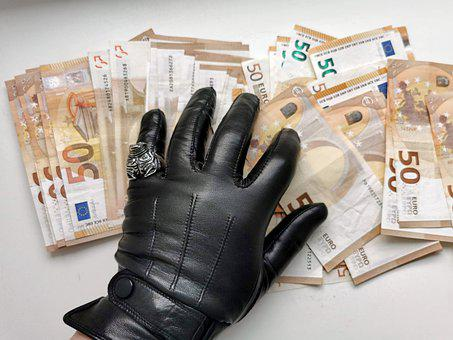 Gloves, Leather Gloves, Money, Criminal, Hand