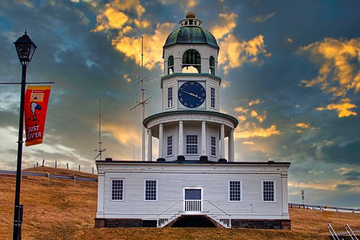 Halifax, Sunset, Canada, Clock, Historic, Landmark