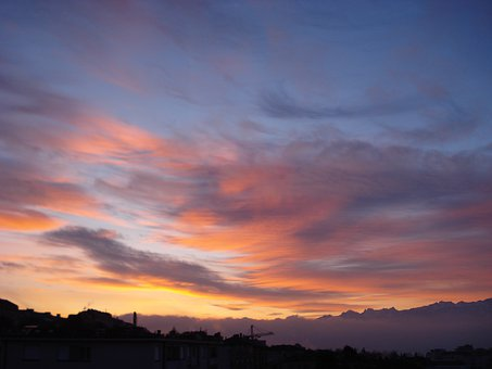 Sunrise, Dawn, Sky, Lausanne, Landscape, Light