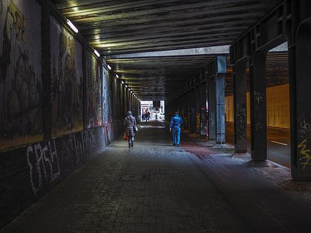 Architecture, Tunnel, Underpass, Light, Shadow, Wall