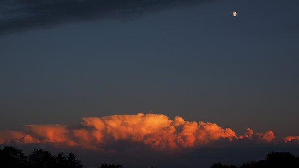 Gewitterstimmung, Evening Sky, Moon, Thundercloud