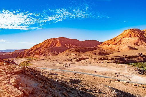 Morocco, Africa, Desert, Way, West, The Sun, Sky, Sand