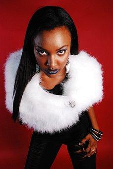 Black, Woman, Boa, Fashion, Portrait, Model, Accessory