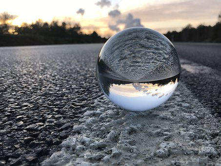 Ball, Road, Power Plant, Sunset, Glass Ball, Sky, Lich