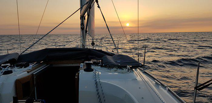 Sunset, Sailing, Sea, Boat, Water, Vacation, Nautical