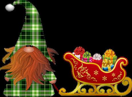 Christmas Elf, Sleigh, Gifts, Christmas, December