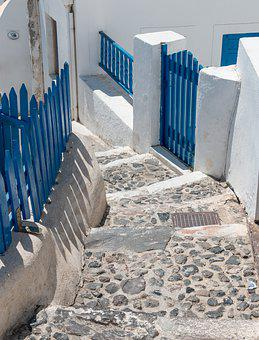 Staircase, Mediterranean, Stone, Blue, Fence, Sunny