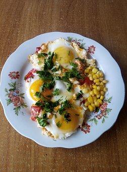 Eggs, Breakfast, Greens, Corn, Plate, Table, Food