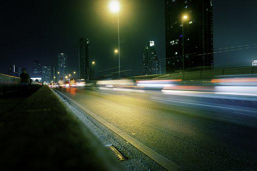 Night, Traffic, City, Urban, Dark, Skyscrapers, Speed