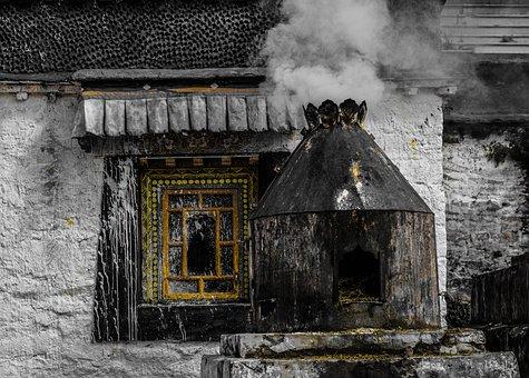 Smoke, Tibet, Village, Traditional, China, Warm