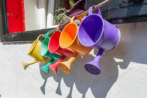 Colorful, Watering Cans, Watering Can, Garden