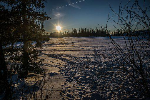 Lake, Winter, Frozen, Snow, Sun, West, Evening