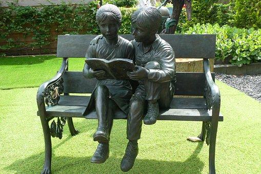 Bank, Garden, Read, Children, Decoration, Still Life