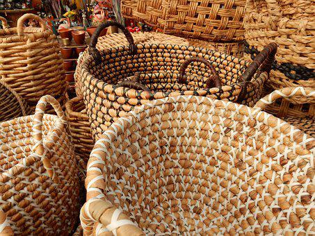 Market, Different, Baskets, Basket, Brown, Beige, Buy