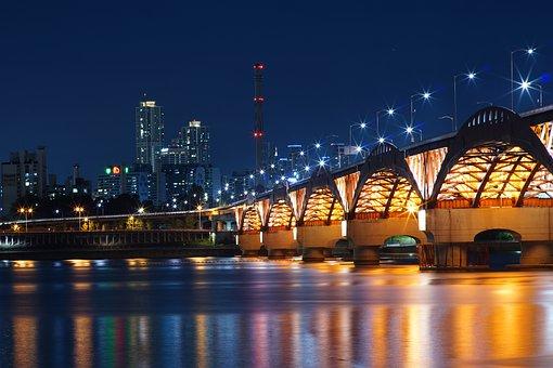 Bridge, Nightscape, River, Reflection, Cityscape, Night