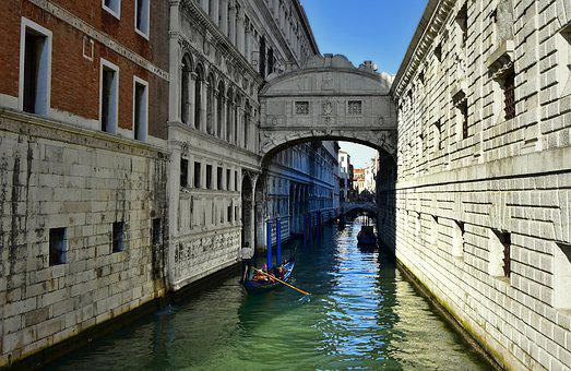 Channel, Waterway, Gondolas, Architecture, Facades
