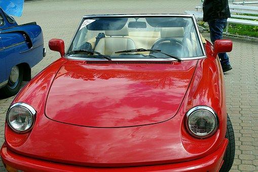 Alfa Romeo, Convertible, Car, Red, Auto, The Vehicle