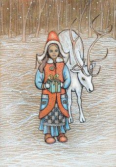 New Year's Eve, Girl, Deer, Postcard, Christmas, Design