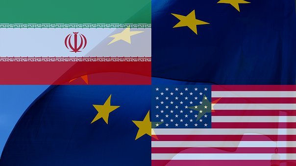 Iran, Usa, Europe, Flags, Policy, Confrontation