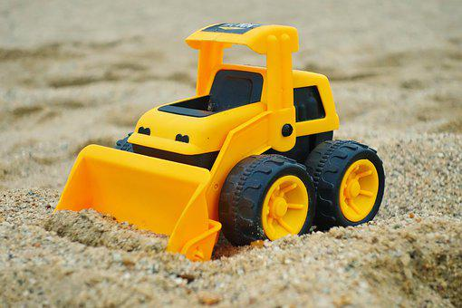 Excavators, Toys, Child, Sand, Beach, Sand Box