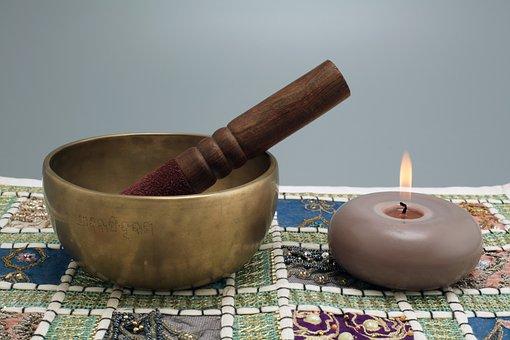 Singing Bowl, Candle, Meditation, Flame