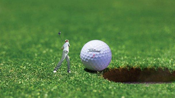 Golfers, Miniature, Golf Ball, Meadow, Golf, Sport