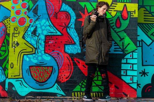 Graffiti, Portrait, Colorful, Guy, Camera, Background