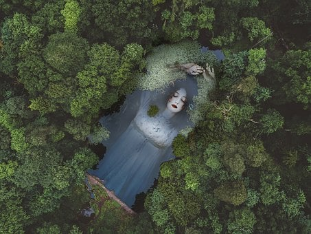 Forest, Lady, Water, Fantasy, Trees, Hair, Dress