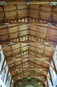 Ceiling, Historic, Wooden, Arches, Vintage