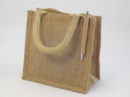 Bag, Weave, Jute, Pencil, Wooden, Natural