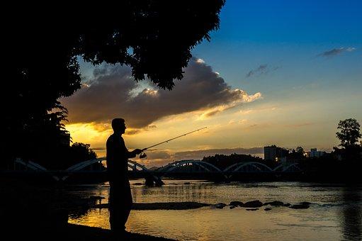 Fisherman, Sunset, Fishing, Water, Sea, Sky, Landscape