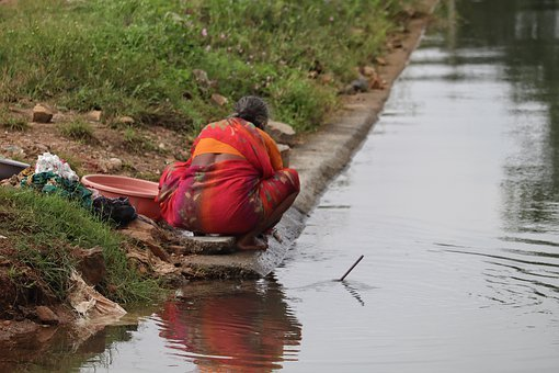 India, Woman, Laundry, River