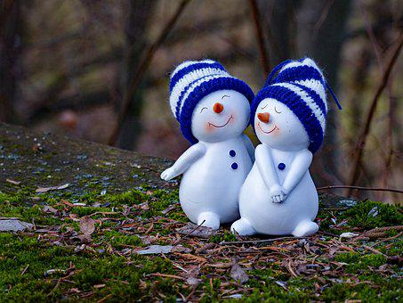 Snowman, Snow Woman, Couple, Love, Valentine's Day