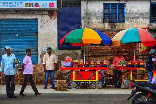 India, Market, Mobile Shop, Men, Parasol