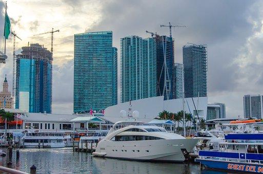 Miami, Florida, Bay, Waterfront, Biscayne, Skyline