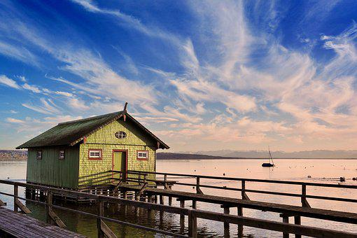 Ammersee, Lake, Boat, Boat House, Morgenrot, Dusk