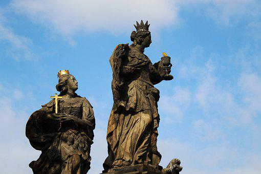 Prague, Charles Bridge, Statues, Holy, Figures, Motive