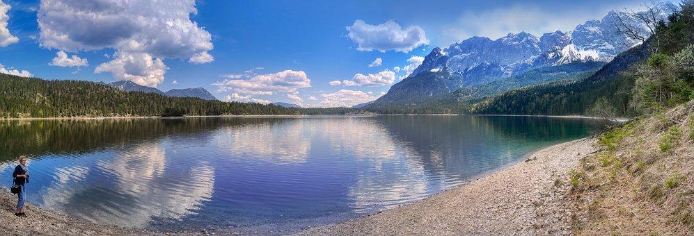 Mountain Panorama, Eibsee, Lake, Bergsee, Landscape