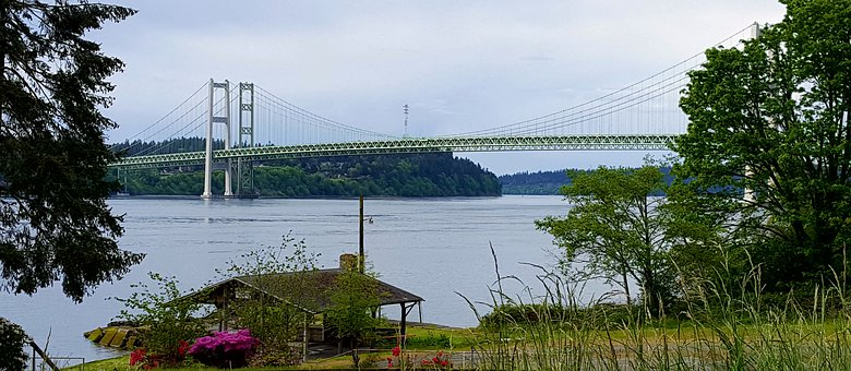 Narrows Bridge, Tacoma, Puget Sound, Titlow Beach, View