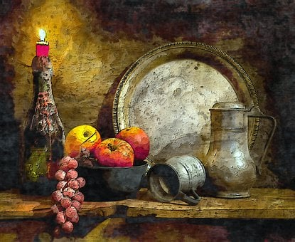 Fruit, Light, Candle, Vintage, Old, Classic, Metal