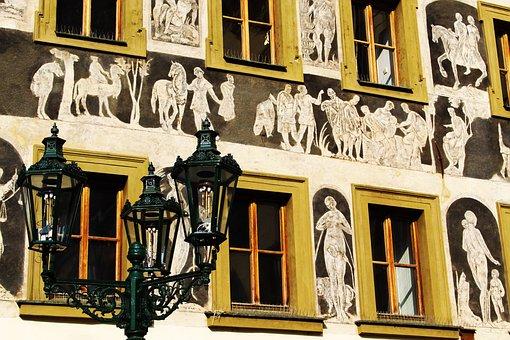 Prague, Old Town Square, Places Of Interest, Frescos
