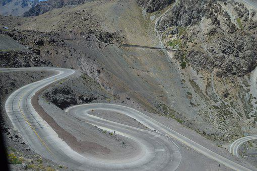 Chile, Andes, Pass Road, Paso Del Cristo Redentor