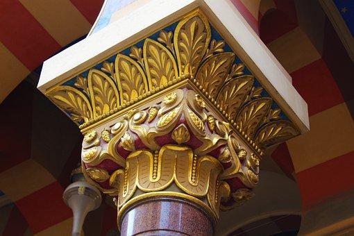 Prague, Synagogue, Pillar, Ornament, Art Deco, Dome