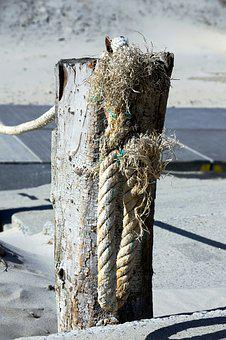 Post, Rope, Dew, Maritime, Beach, Fixing, Pile, Cord